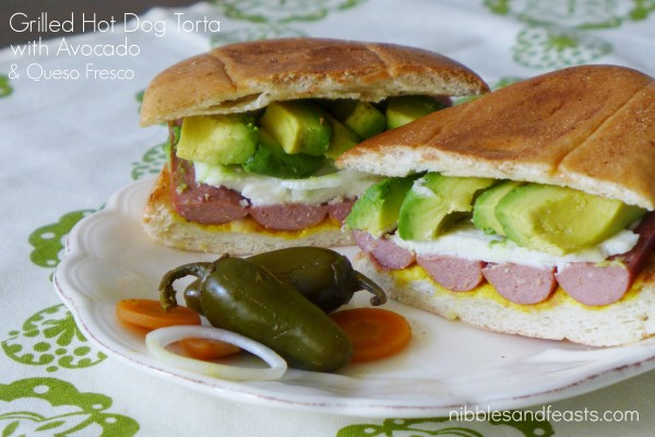 Grilled hot dog torta