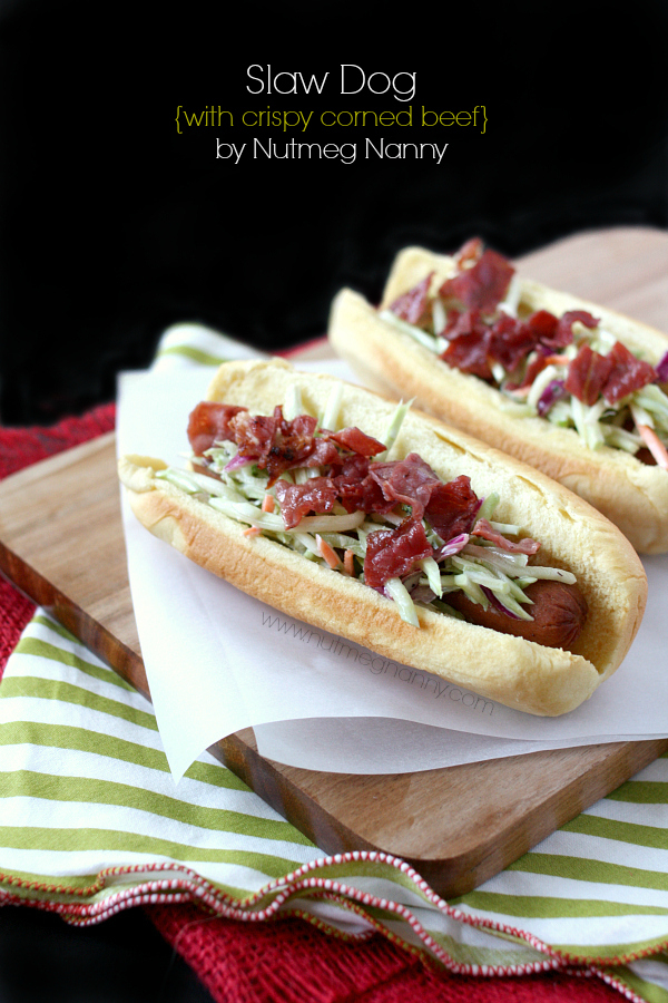 Slaw dog with crispy corned beef