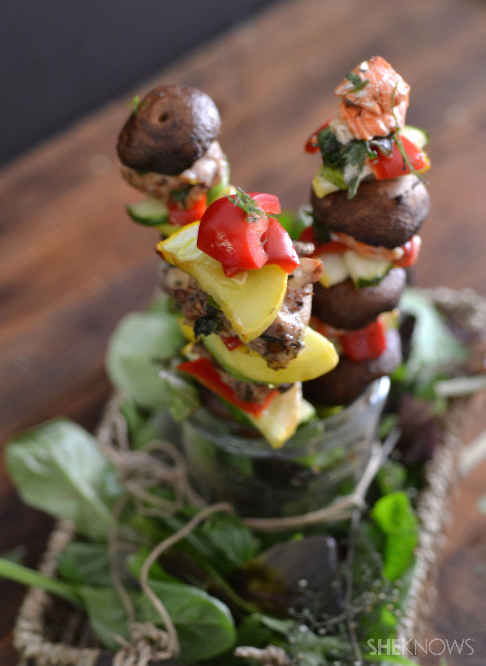 Spicy chicken and salmon kabob bouquet