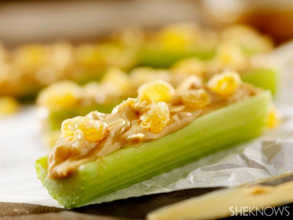 Celery sticks and homemade peanut butter