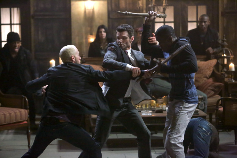 Elijah fights Marcel's men in The Originals