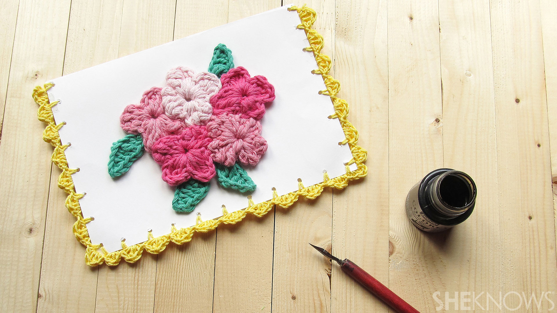 DIY Crocheted Mother's Day card