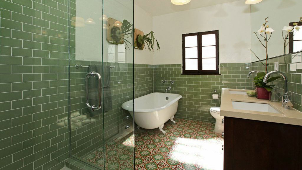 Green tile with graphic patterns
