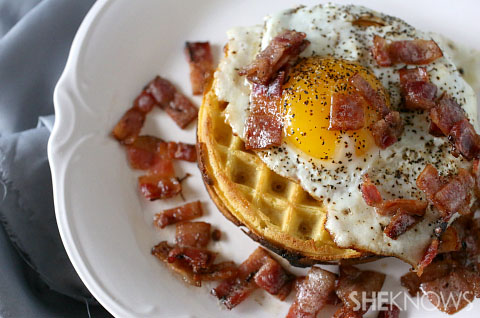 Bacon and egg waffle open face sandwich