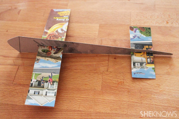 Cereal Box Airplane: Insert wings and complete