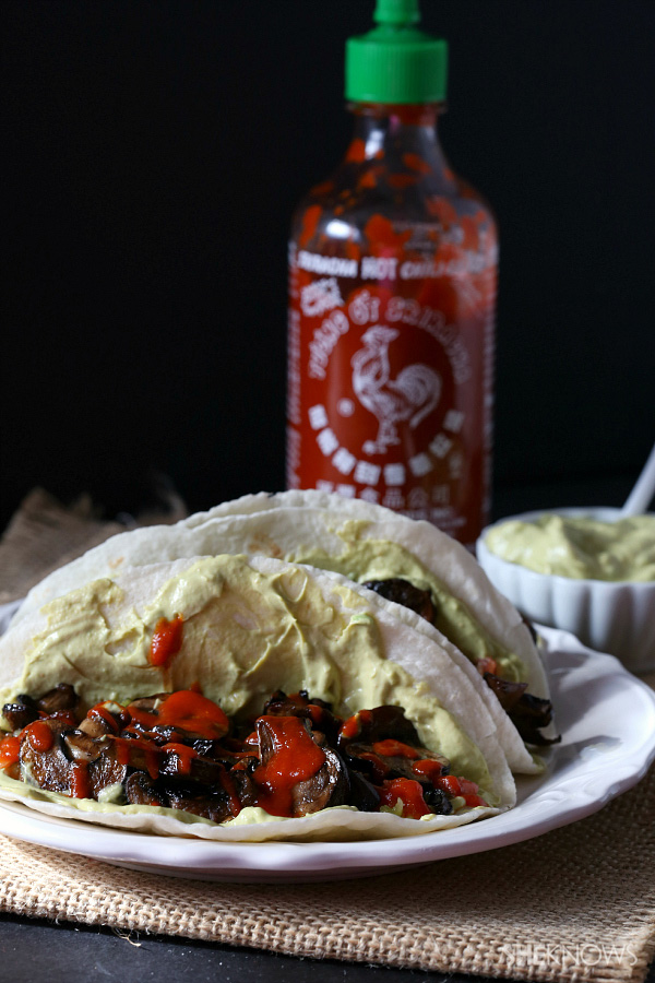 Spicy portobello mushroom tacos with avocado sauce