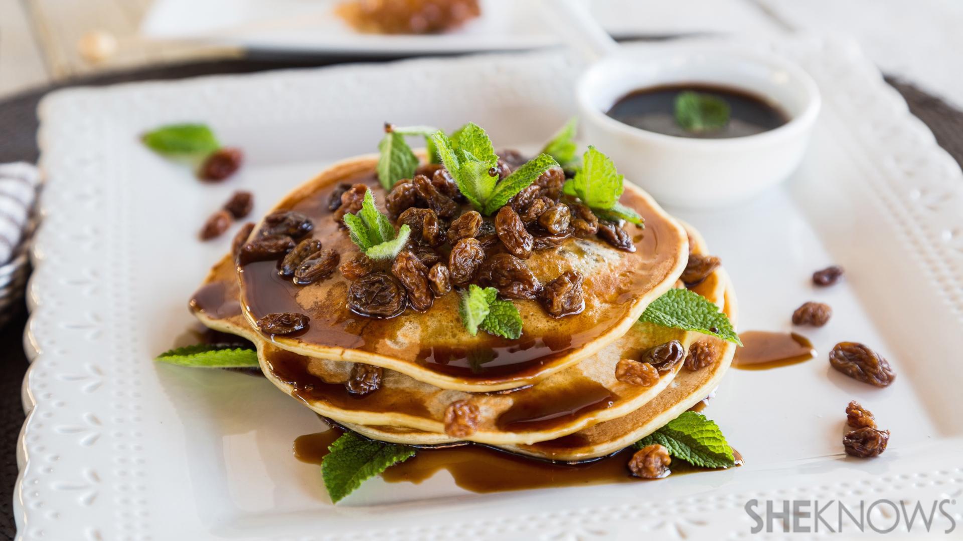 Rum raisin pancakes with rum syrup