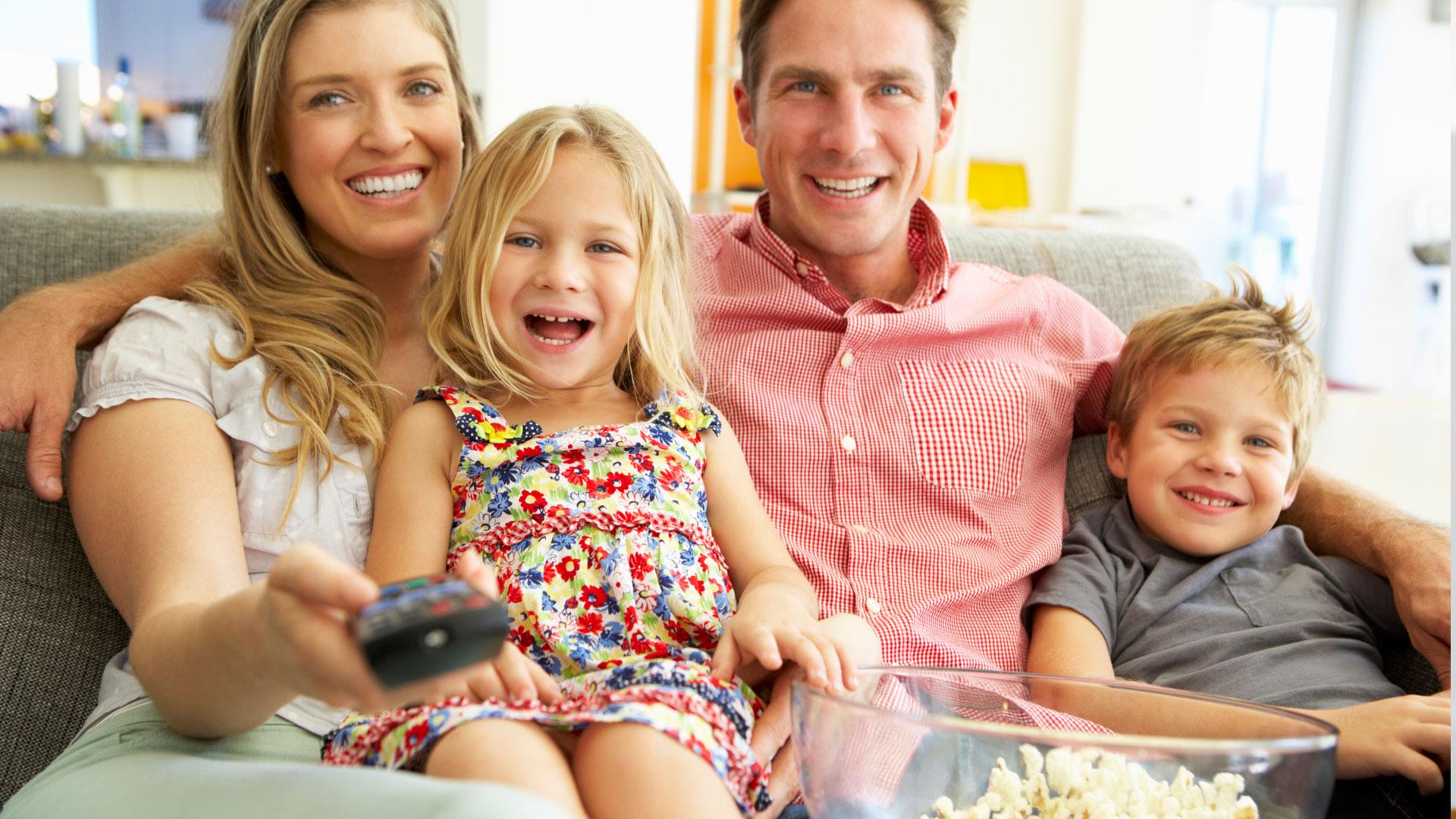 Family watching kids movies