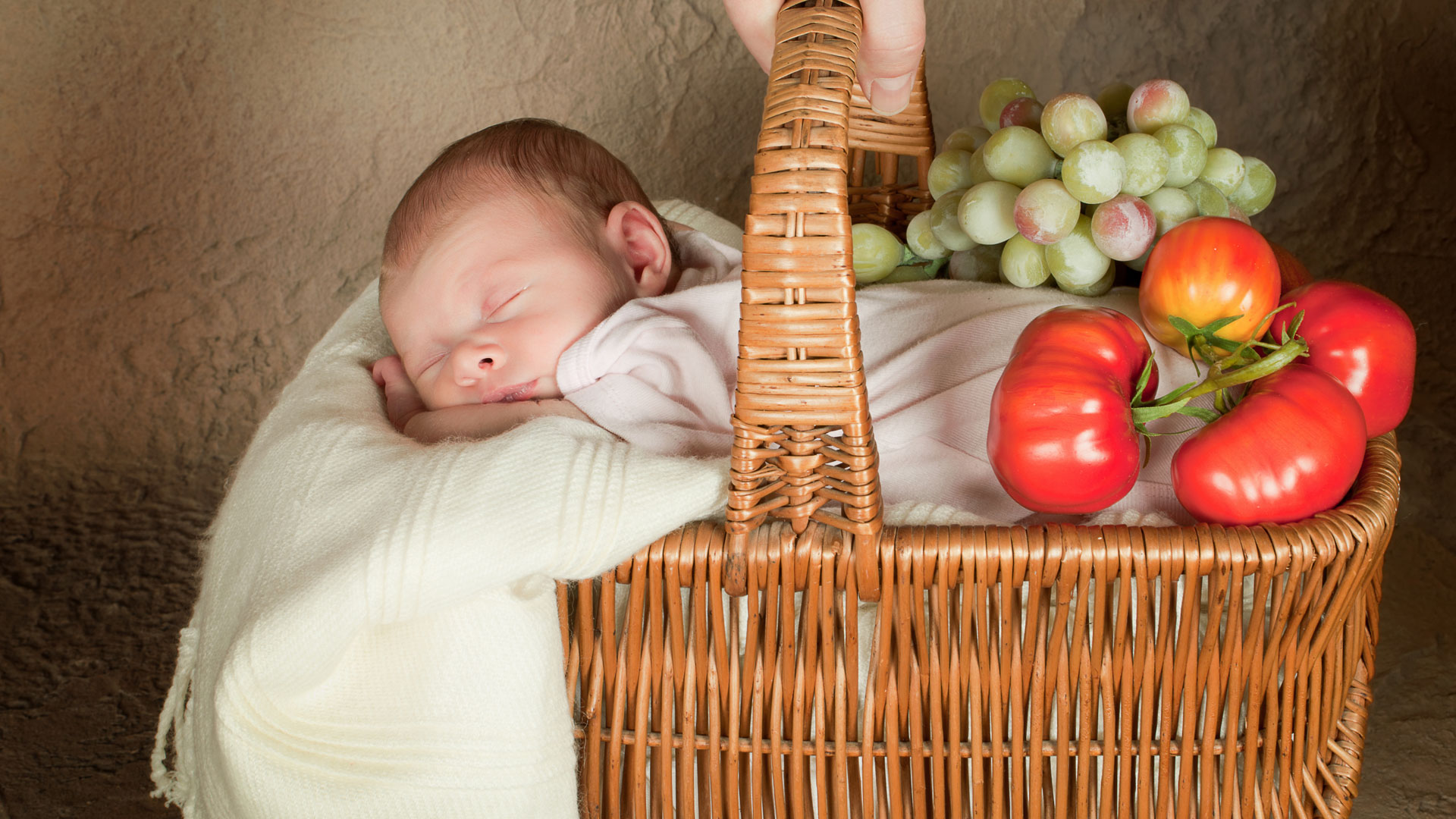 Baby in a grocery basket
