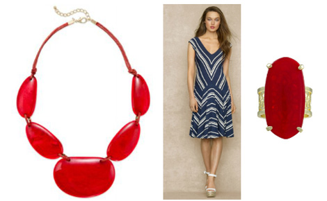 A red pop of color with blue dress
