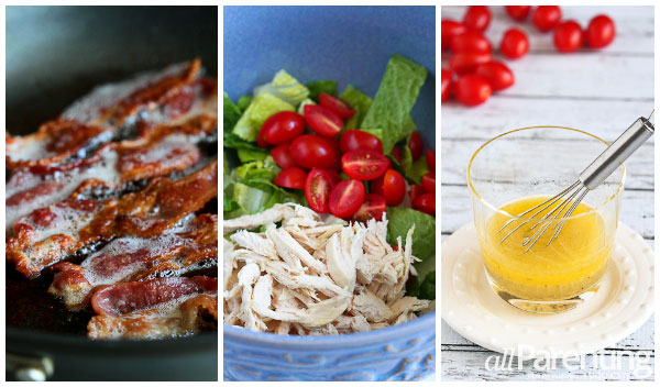 allParenting BLT Chicken Salad prep collage