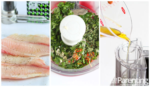 allParenting Baked tilapia with chimichurri sauce prep collage