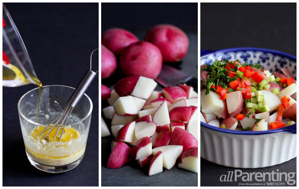allParenting Light Dijon potato salad prep collage