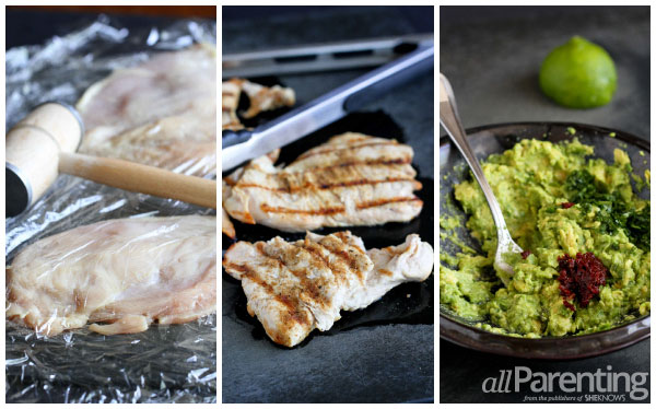 allParenting Grilled chicken burgers with easy guacamole prep collage