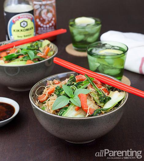 allParenting Stir-fried vegetables with rice noodles