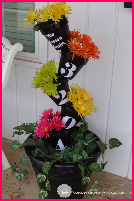 DIY House numbers- Whimsical flower tower