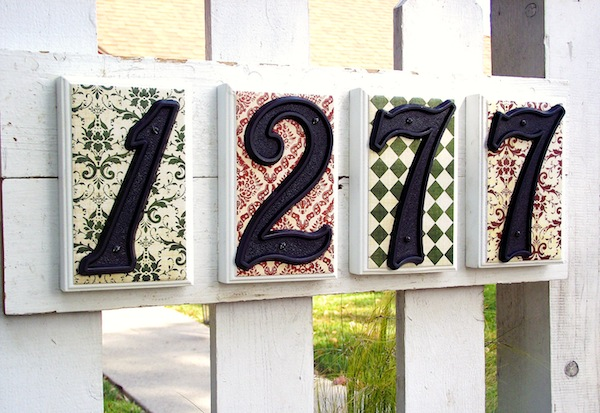 DIY House numbers- Mod Podge address sign