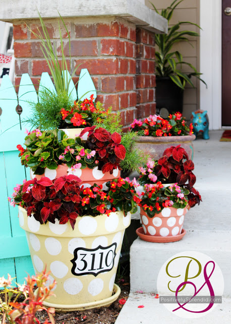 DIY House numbers- Polka dot planters