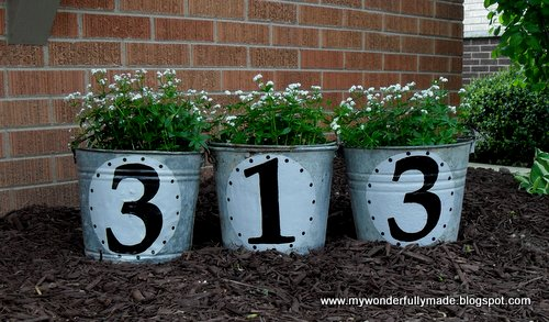 DIY House numbers- Re-purposed old buckets