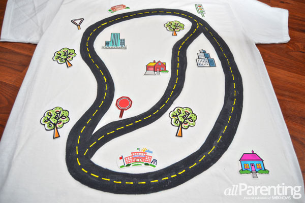allParenting DIY race track t-shirt step 6