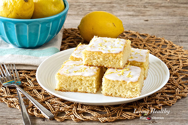 Healthy desserts- Paleo Lemon Brownies with Coconut Lemon Glaze