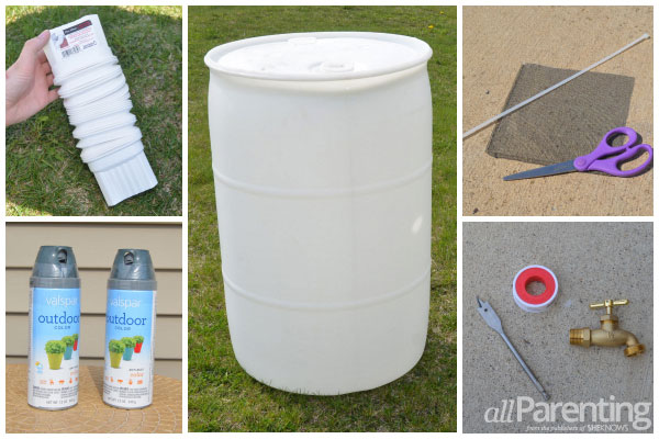 allParenting DIY rain barrel supplies