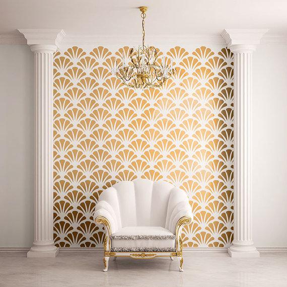 Shell decor- Wall stencil
