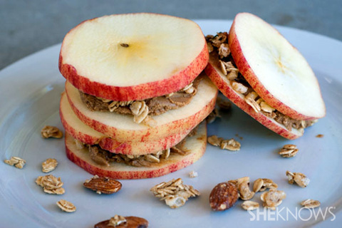 Apple almond butter stacks recipe