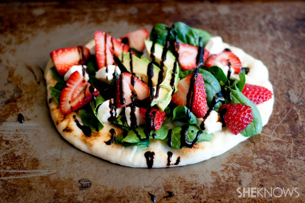 Balsamic strawberry and goat cheese flat breads recipe