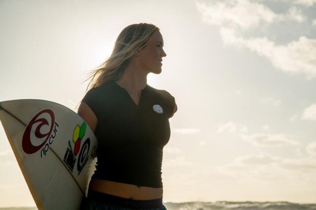 Bethany Hamilton with surfboard
