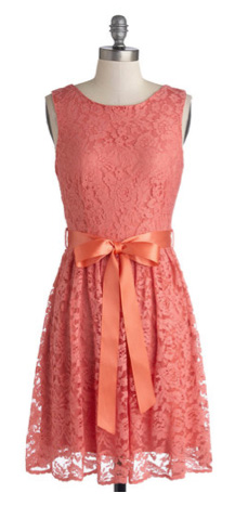 Peach lace dress for summer wedding