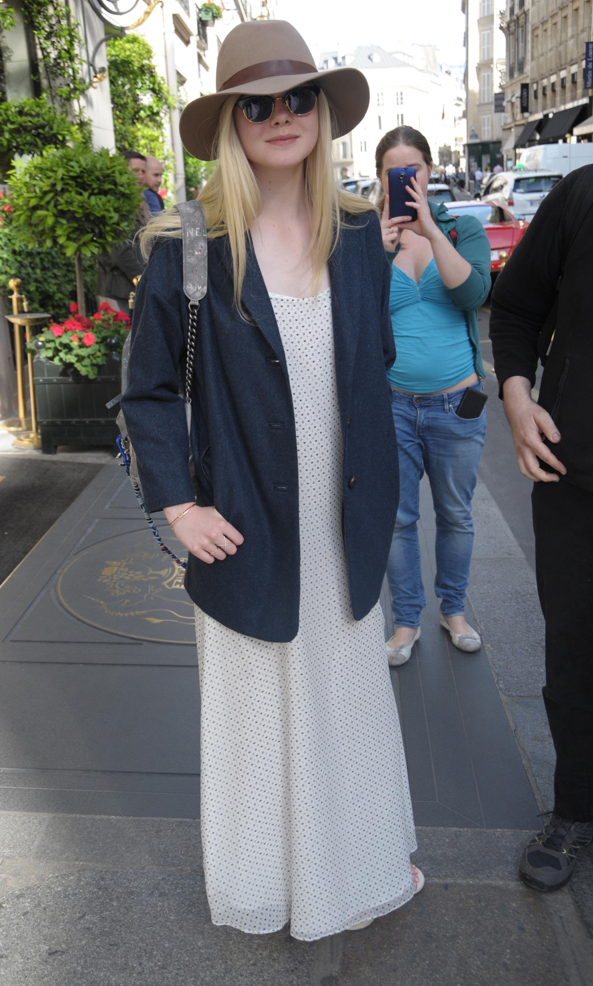 Elle Fanning wearing vintage style dress