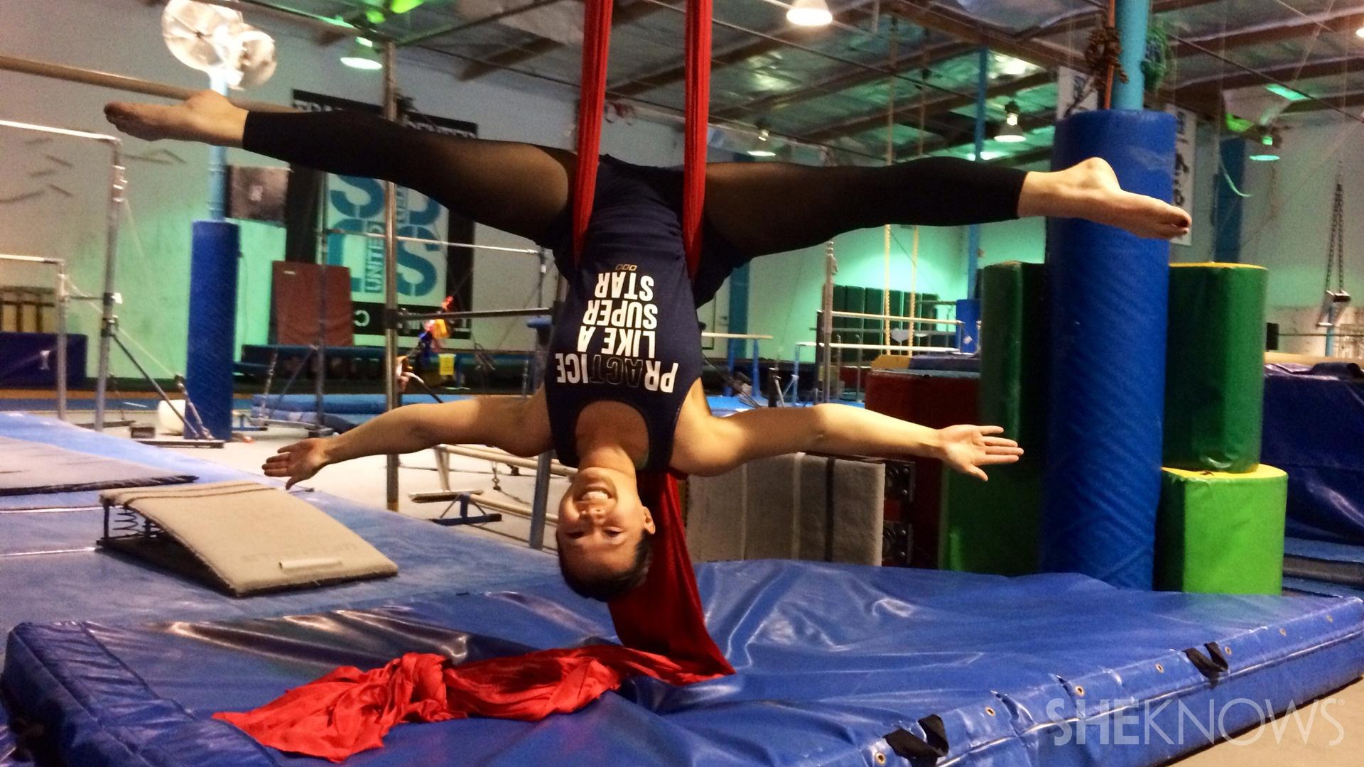 Raina doing aerial yoga