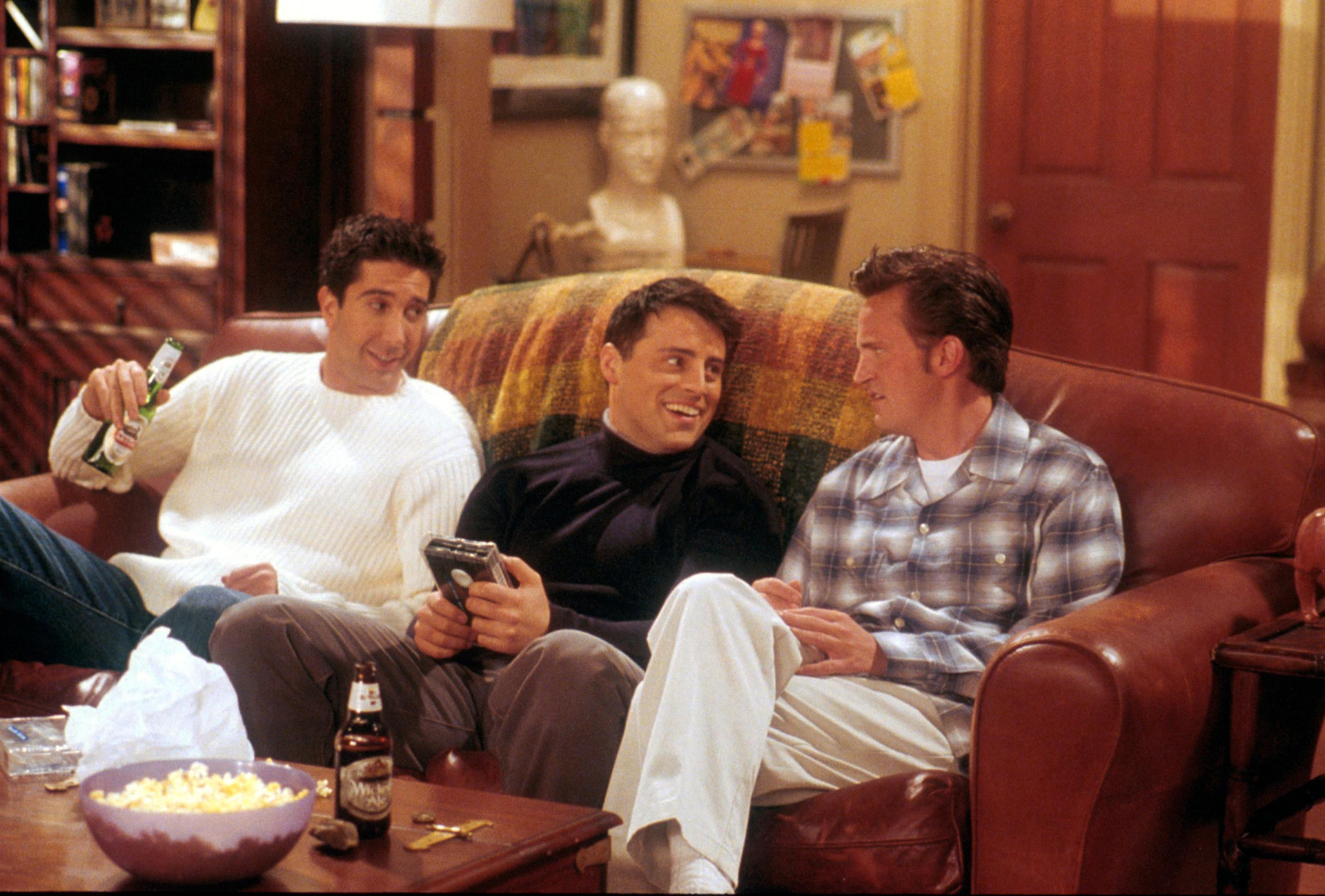 Ross, Joey and Chandler from Friends