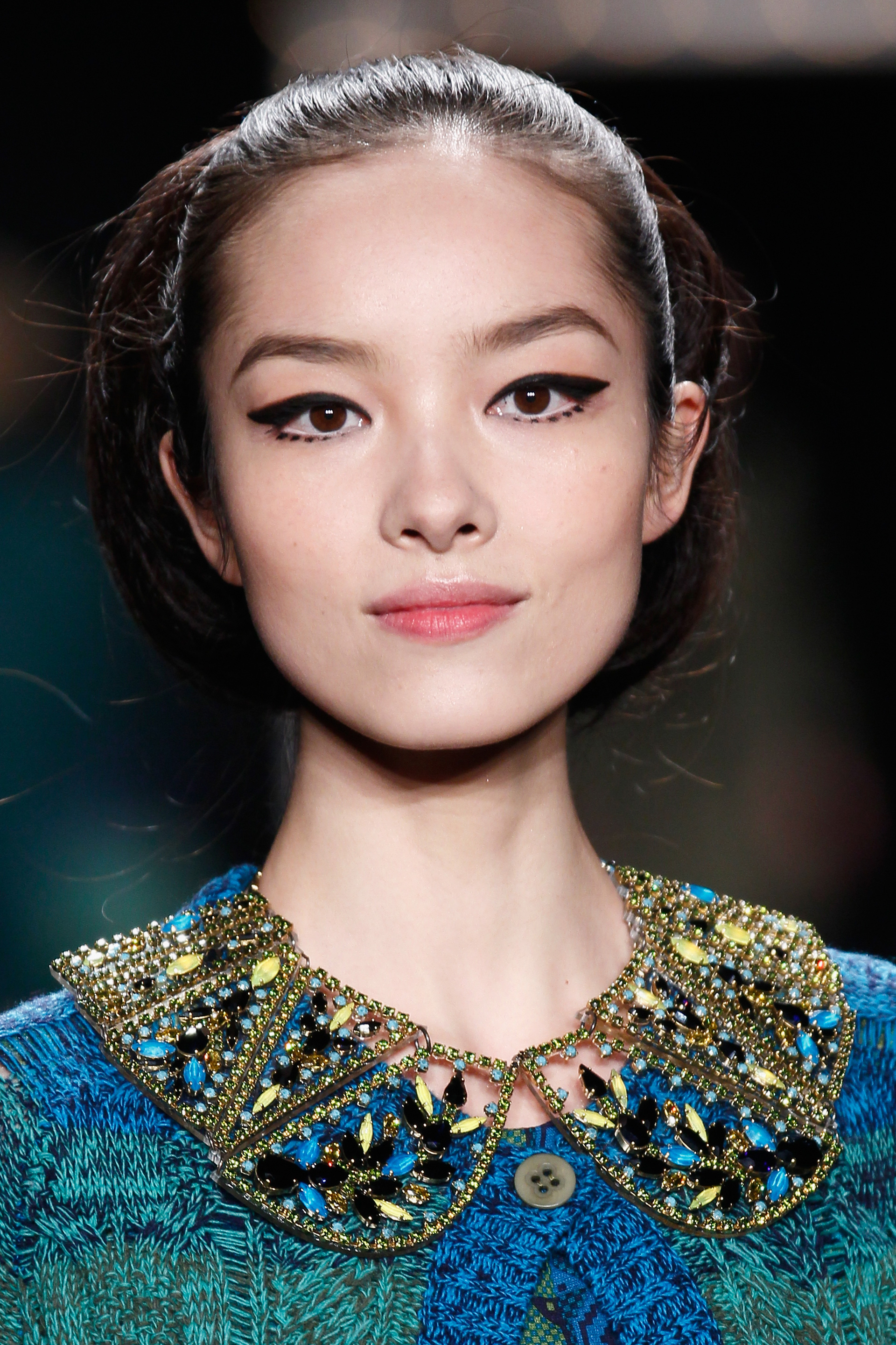 Anna Sui models wearing dotted eye makeup in 2013