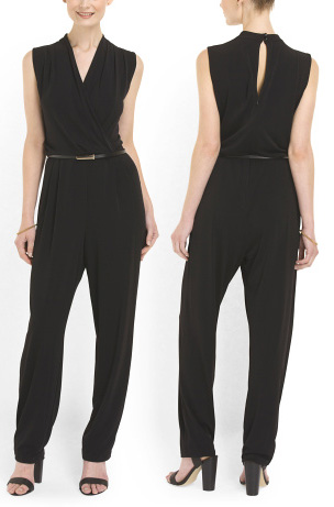 Shop the look: Sandra Darren Sleeveless Surplice Jumpsuit (tjmaxx.com, $30)