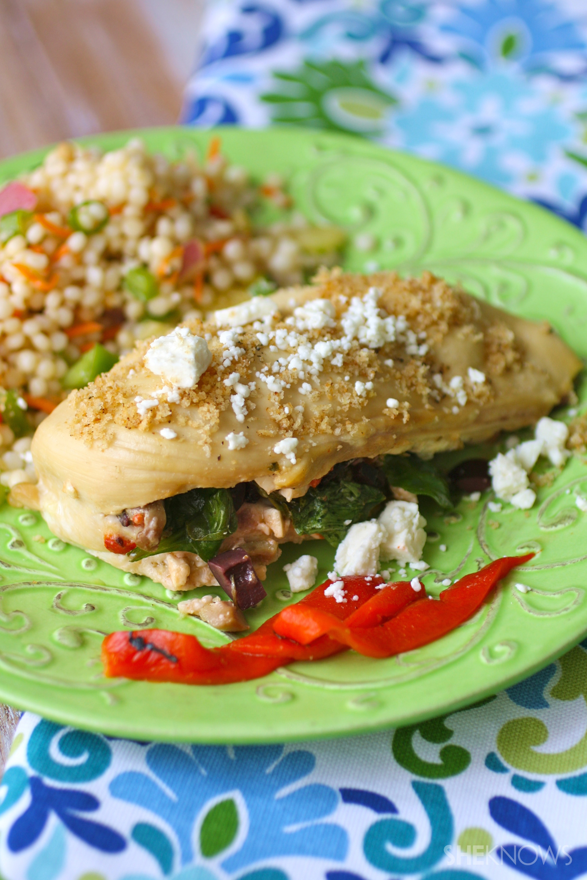 Mediterranean-stuffed chicken breasts