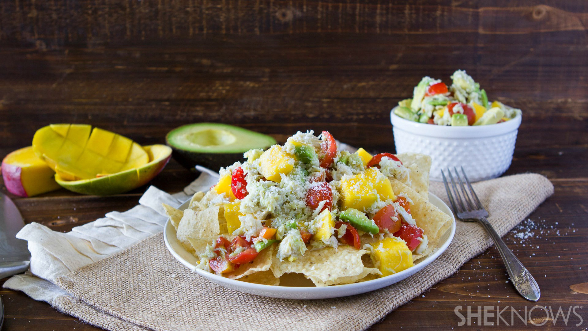 Crab, avocado and mango nachos