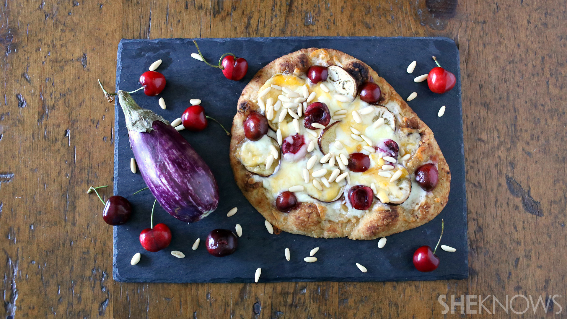 Eggplant, pine nut and cherry flatbread pizza