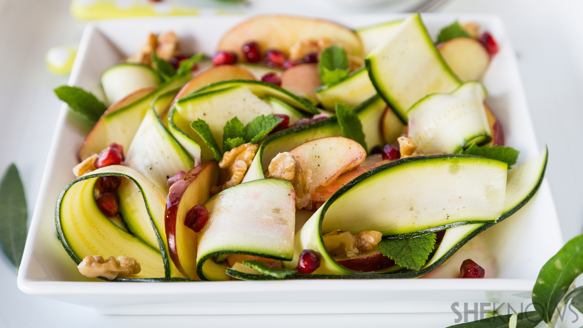 Raw zucchini, apple and walnut salad with pomegranate dressing recipe