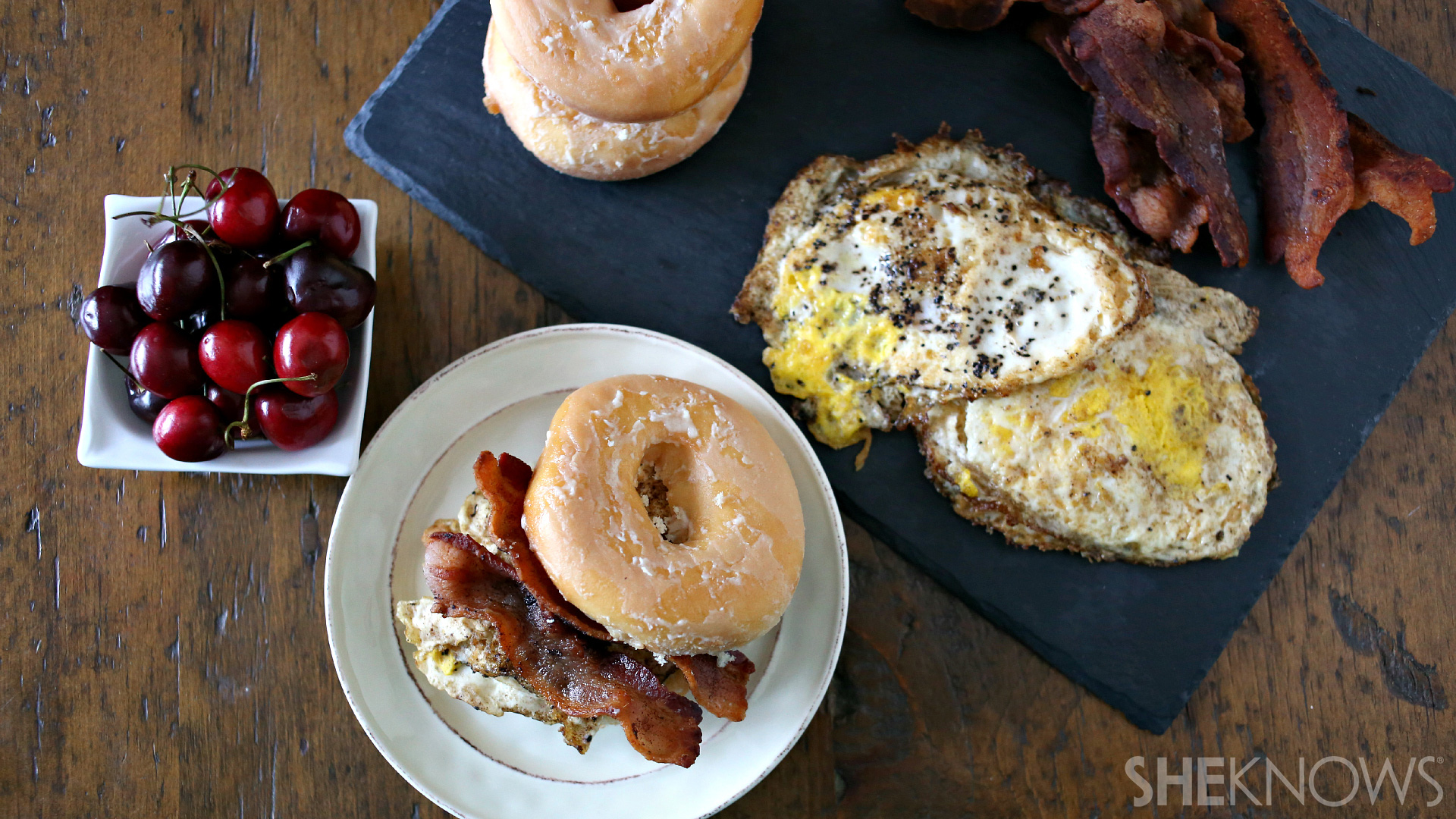 Totally loaded breakfast glazed donut sandwich