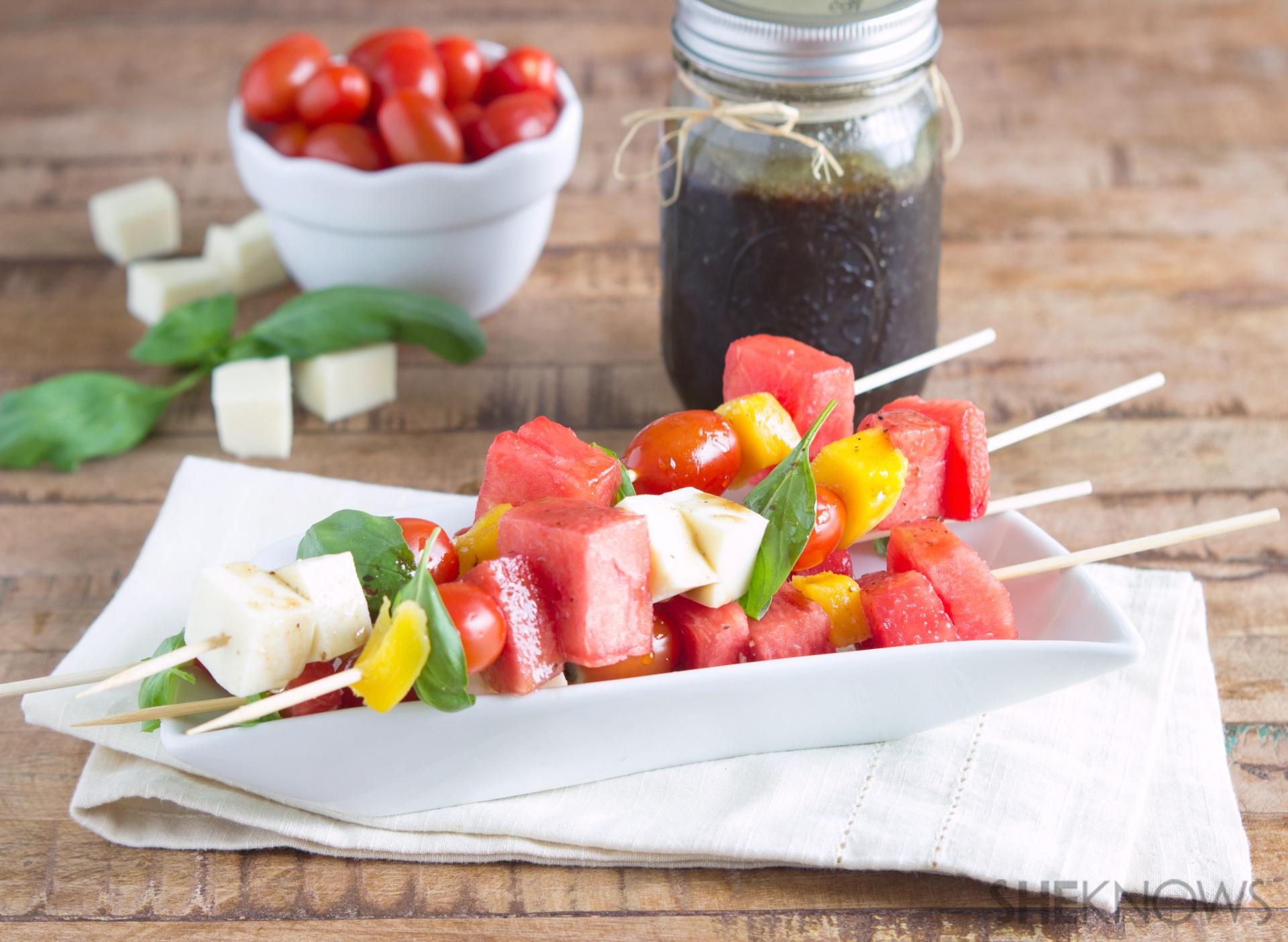 Watermelon caprese salad kabobs