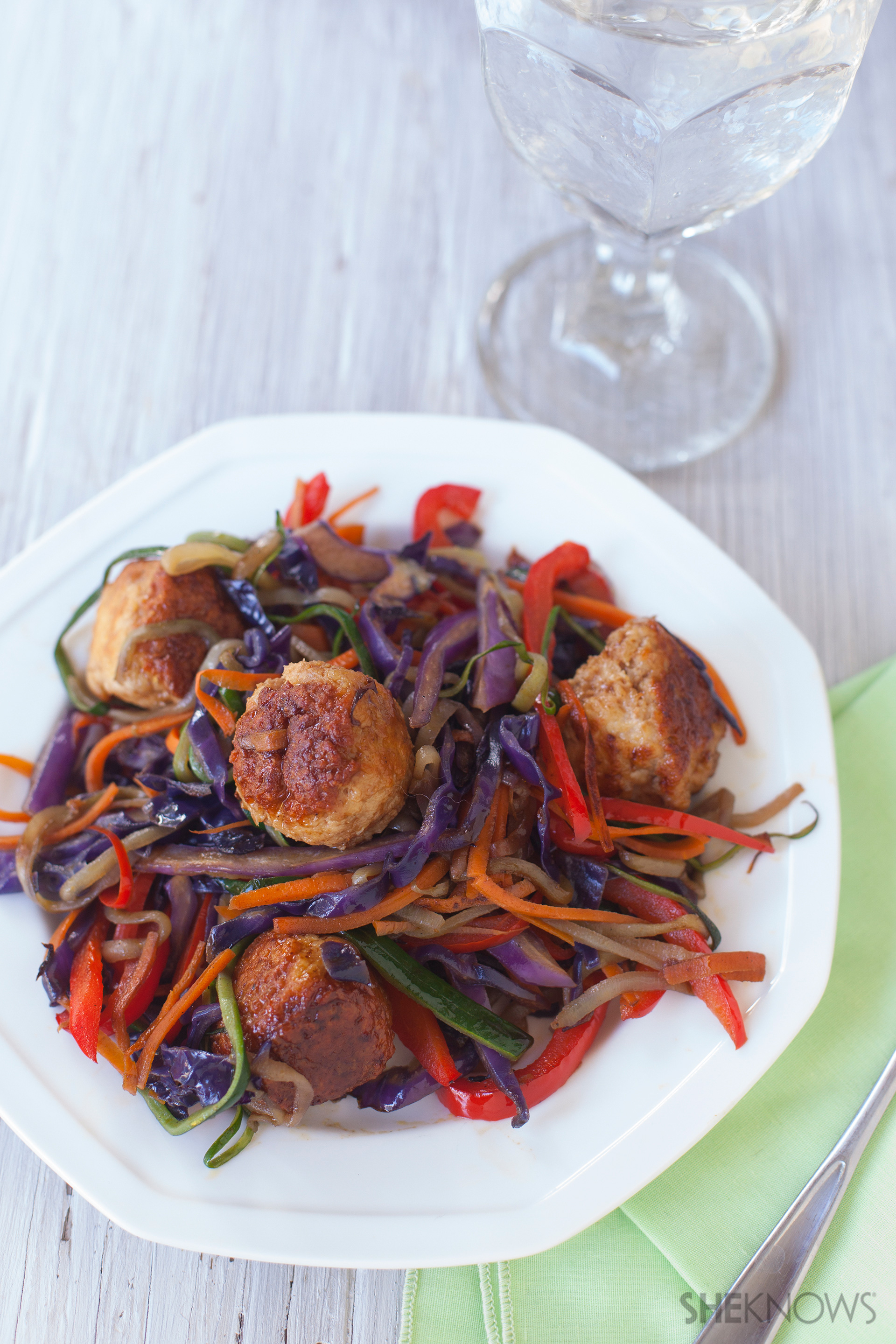 Chinese meatballs with rainbow stir fry