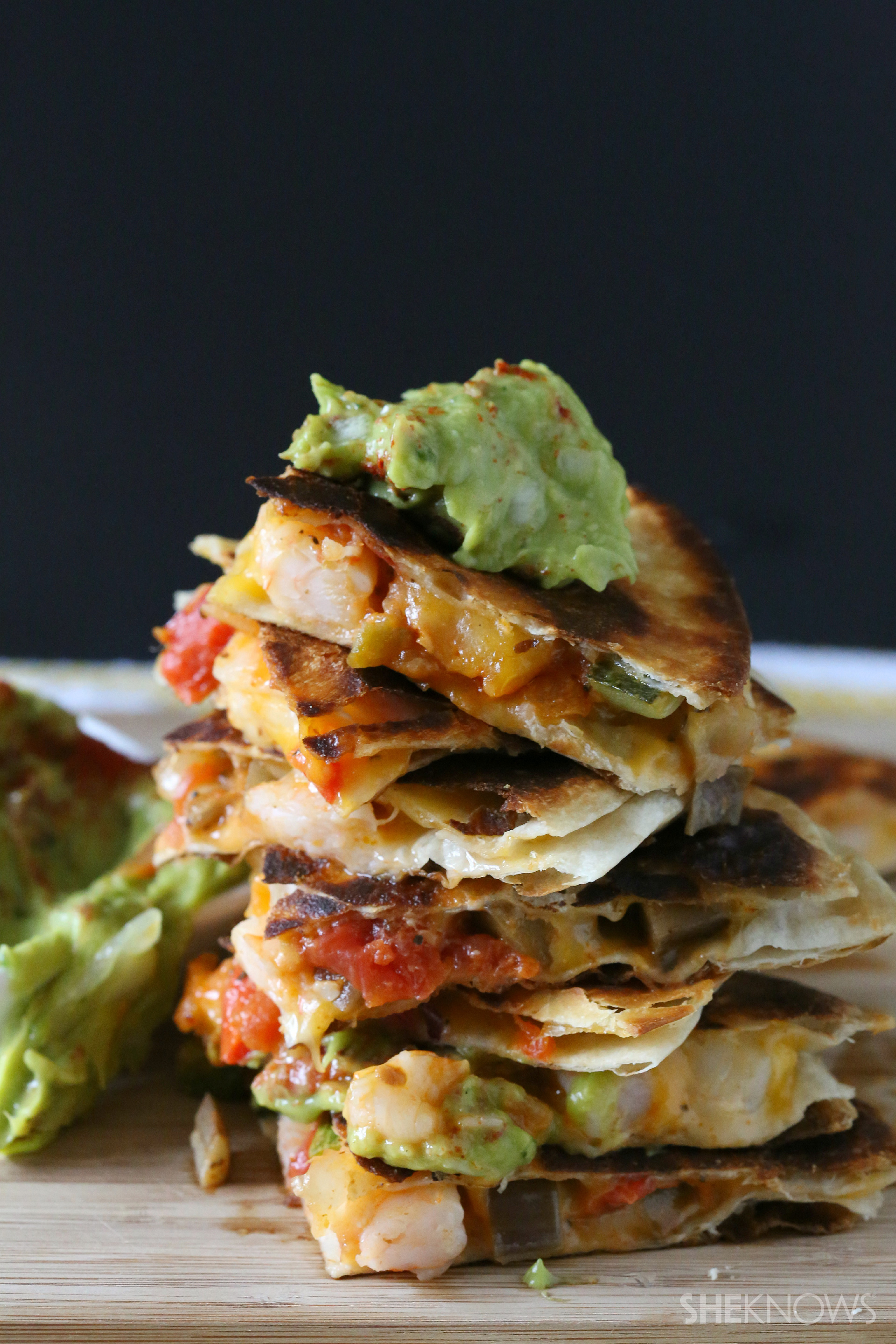 Spicy shrimp quesadillas with chipotle avocado sauce