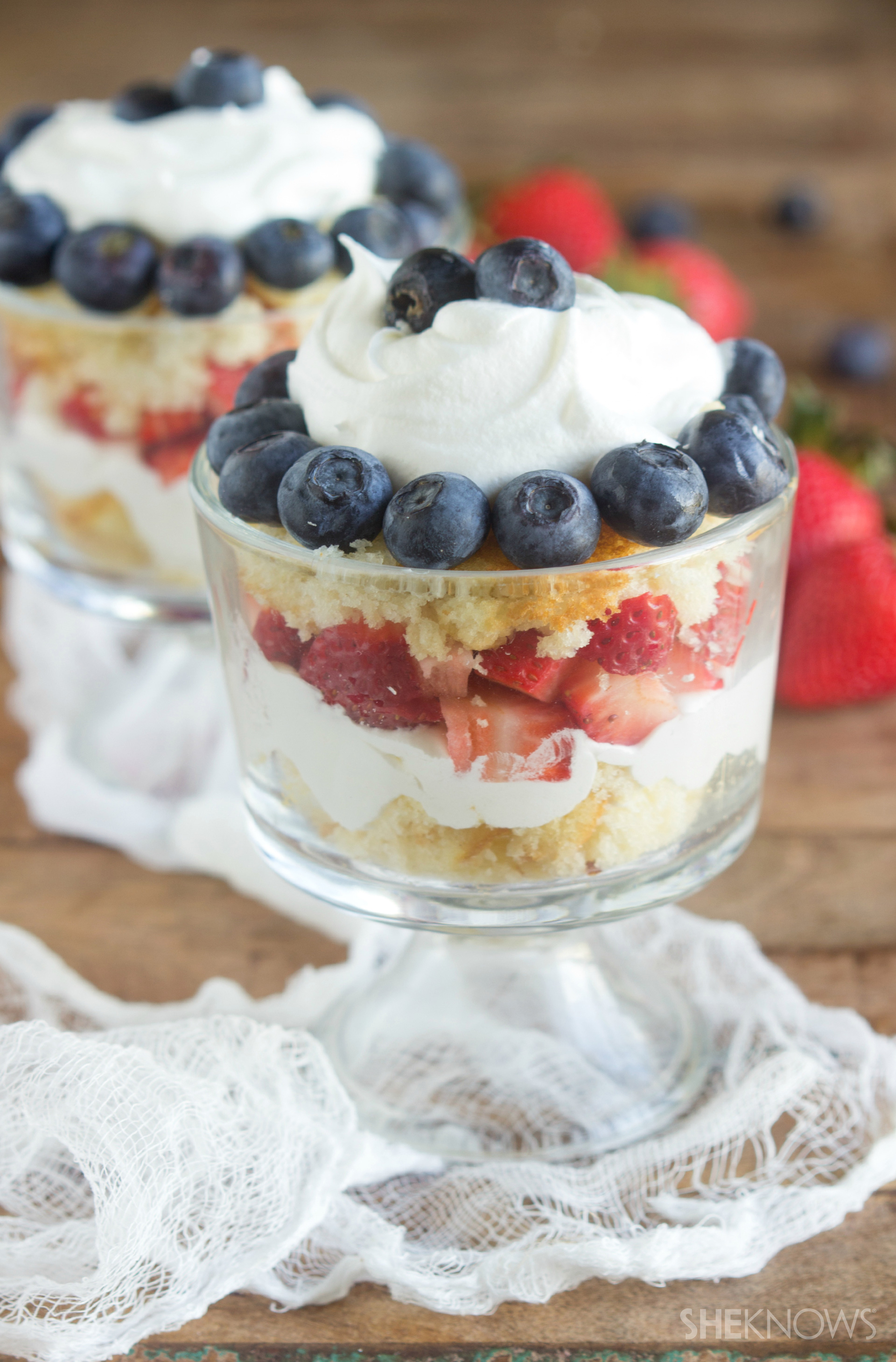 Strawberry and blueberry angel food cake flag trifle