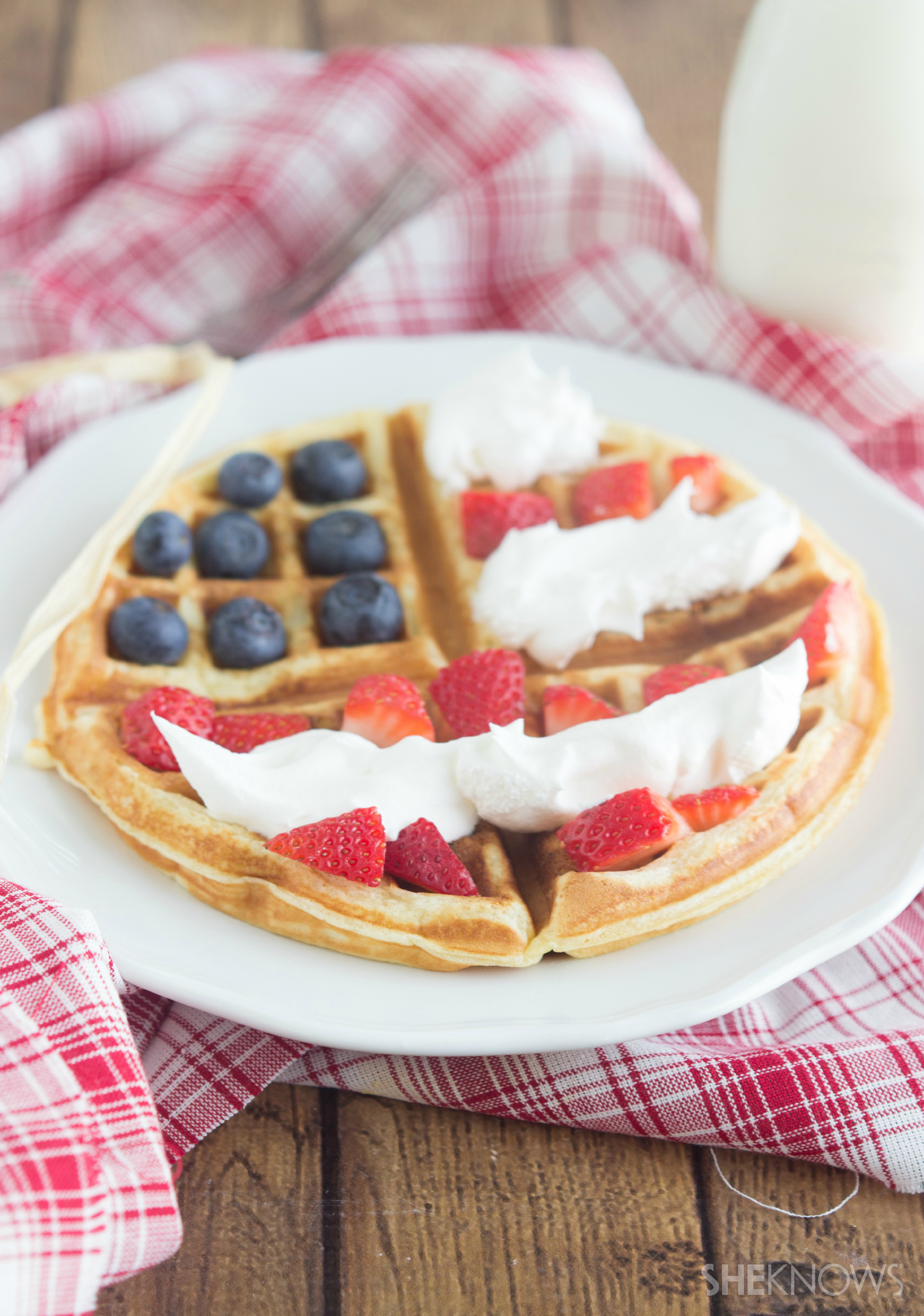 Flag decorated waffle breakfast