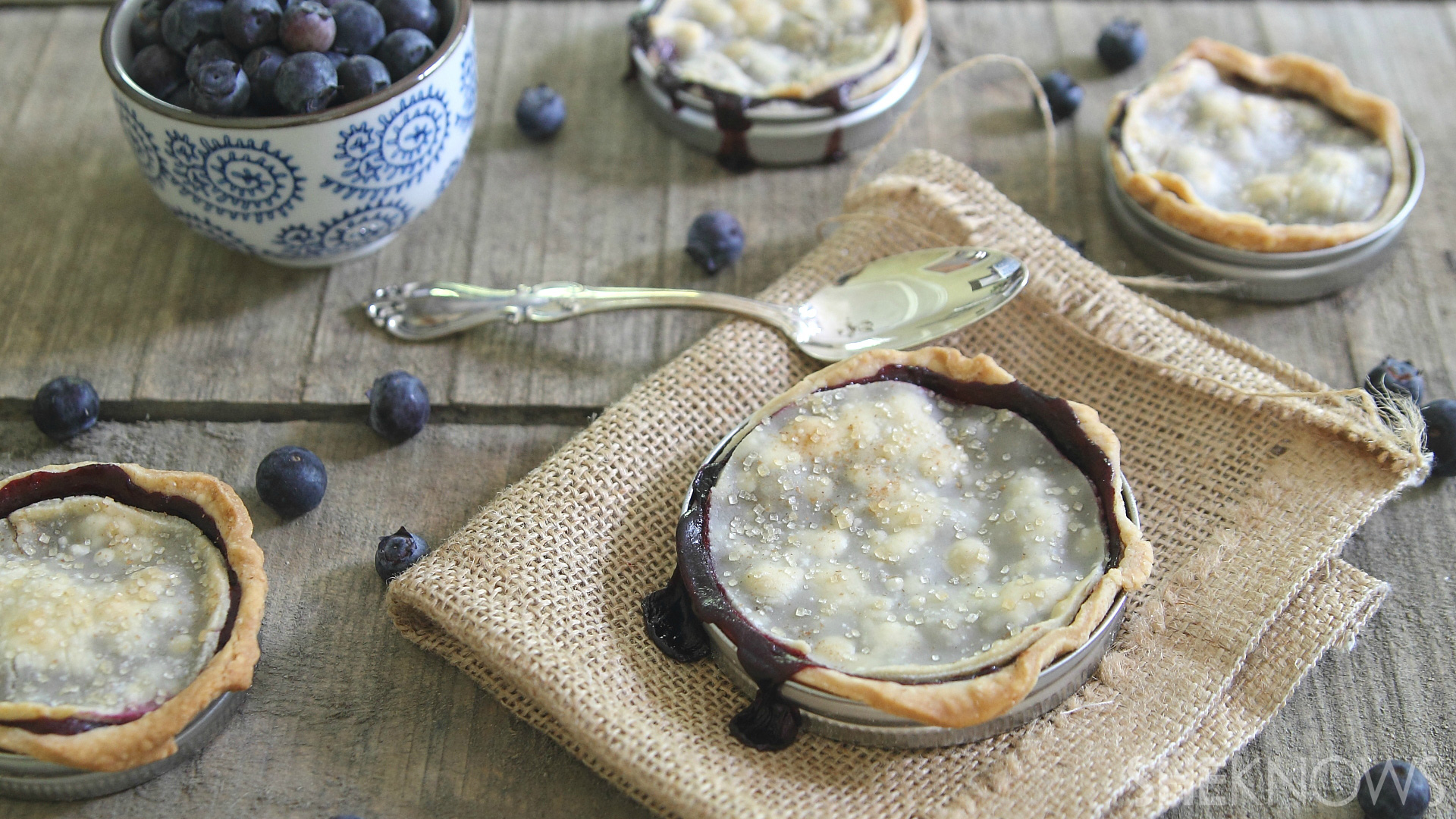 ... to eat, these Mason jar lid blueberry pies are a fun spin on dessert