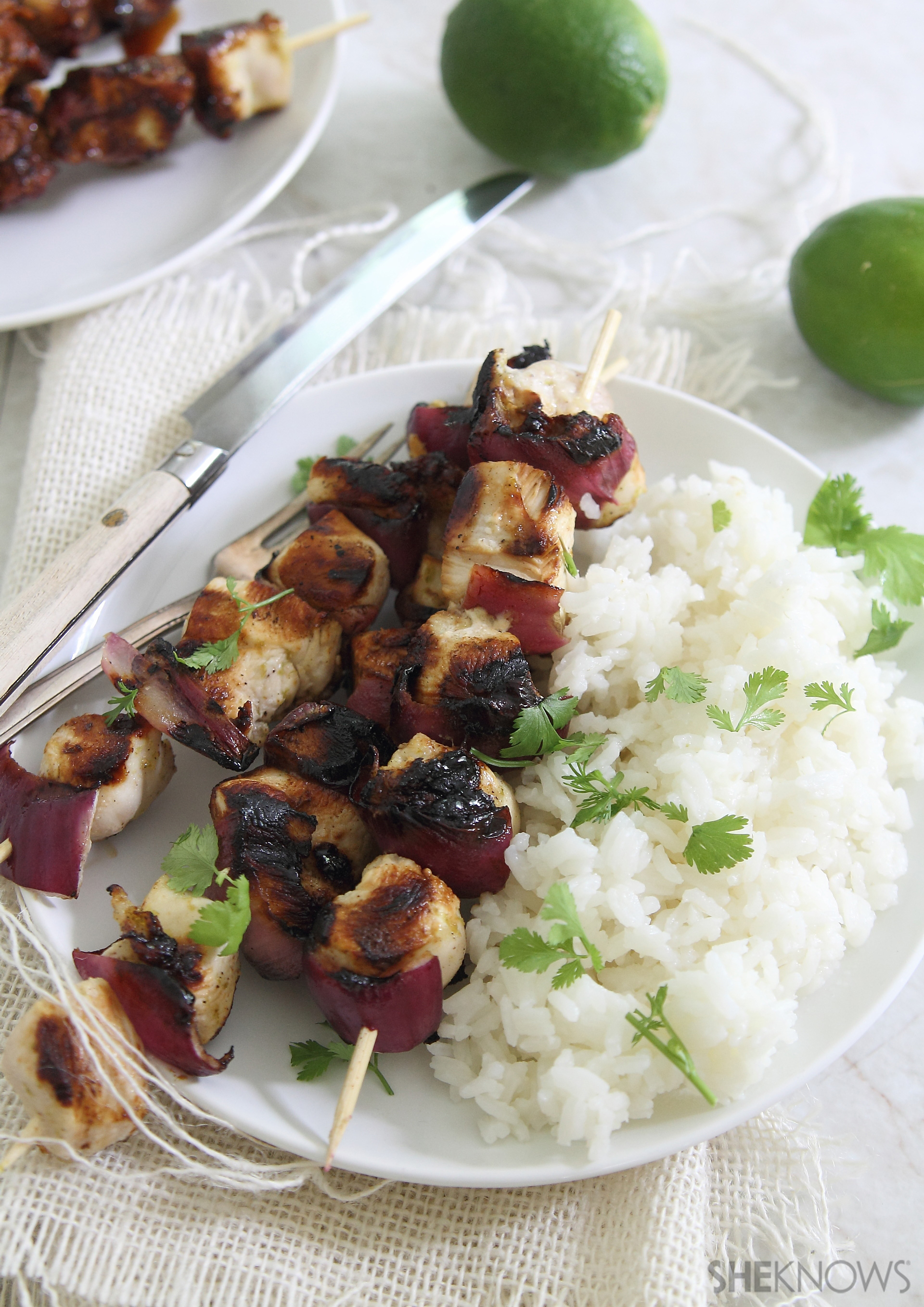Honey lime chicken skewers with coconut rice