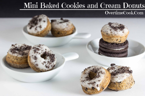 Baked mini cookies and cream donuts