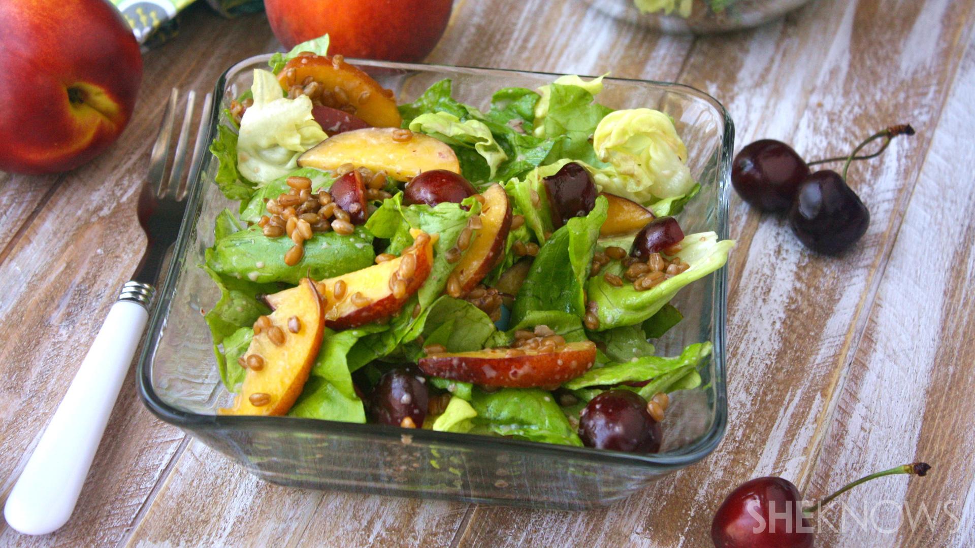 Wheat berry and stone fruit salad with cherry-yogurt dressing
